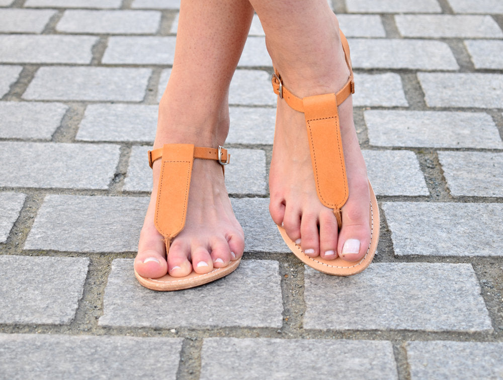 Ancient greek sandals, Tan sandals, T-strap sandals, Greek leather sandals, womens leather sandals, flat sandals AGAPI sandals,