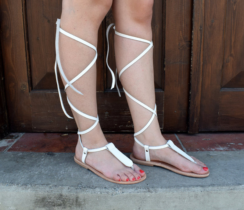 Ancient Greek leather sandals, Lace up sandals, White sandals, Wedding Gladiator sandals, Women sandals, Thong sandals, CYNTHIA sandals,