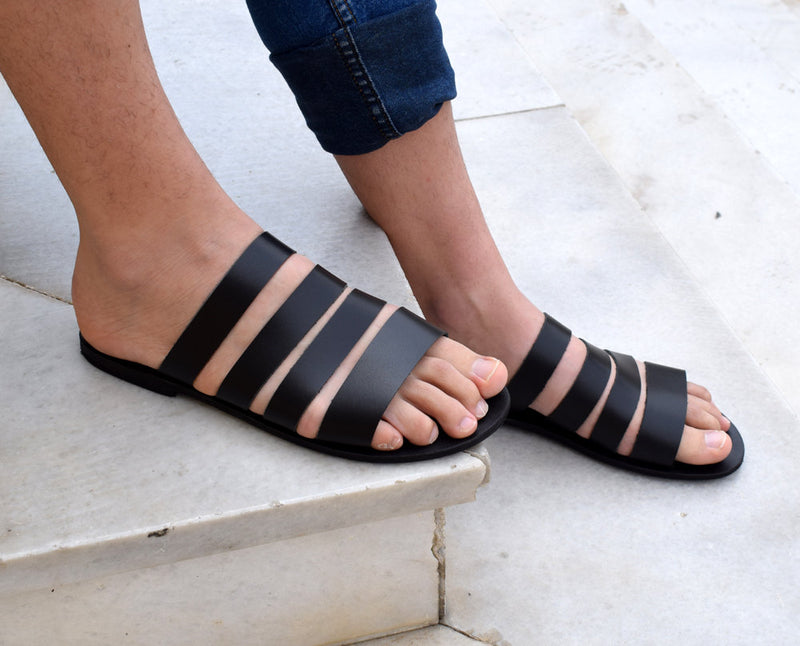 Gladiator Men Sandals/ Greek men sandals/ Gift For Men/ ACHILLIOS sandals/ Handmade Sparta Sandals/ Men black slippers/ Genuine Leather