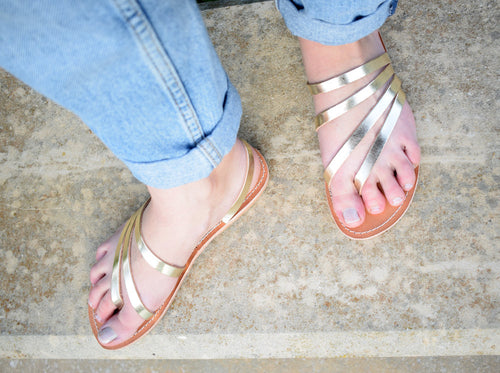 Gold sandals, Handmade sandals, High Quality Genuine Leather. Classic and stylish, all leather, handmade sandals, NAFSIKA