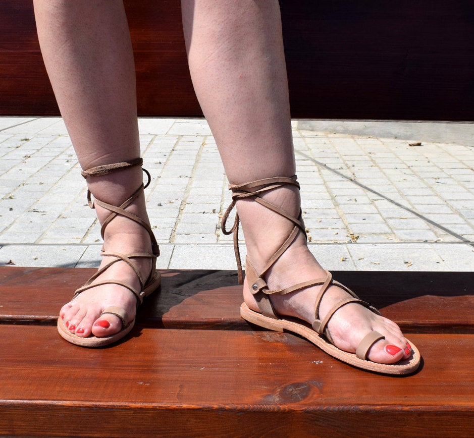 Ancient Greek leather sandals, Lace up sandals, Nubuck sandals, Gladiator sandals, Women sandals, Toe Ring Sandals, PENELOPE sandals