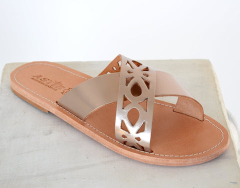 Ancient Greek leather sandals in Natural tan color, elegant gladiator sandals, flats handmade sandals, men tan sandals, mens slip on, LEROS