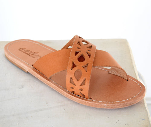 Ancient Greek leather sandals, Greek Women Slide Sandals, Leather Sandals, Women Leather Slide Sandals, Slip on sandals, ORCHIDEA