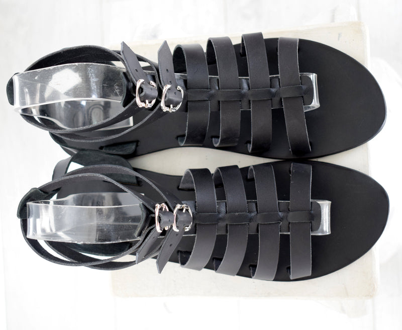 Gladiator Renaissance men sandals, Black sandals, leather sandals, Gift For Men, Free shipping, Handmade Sandals, Genuine Leather sandals