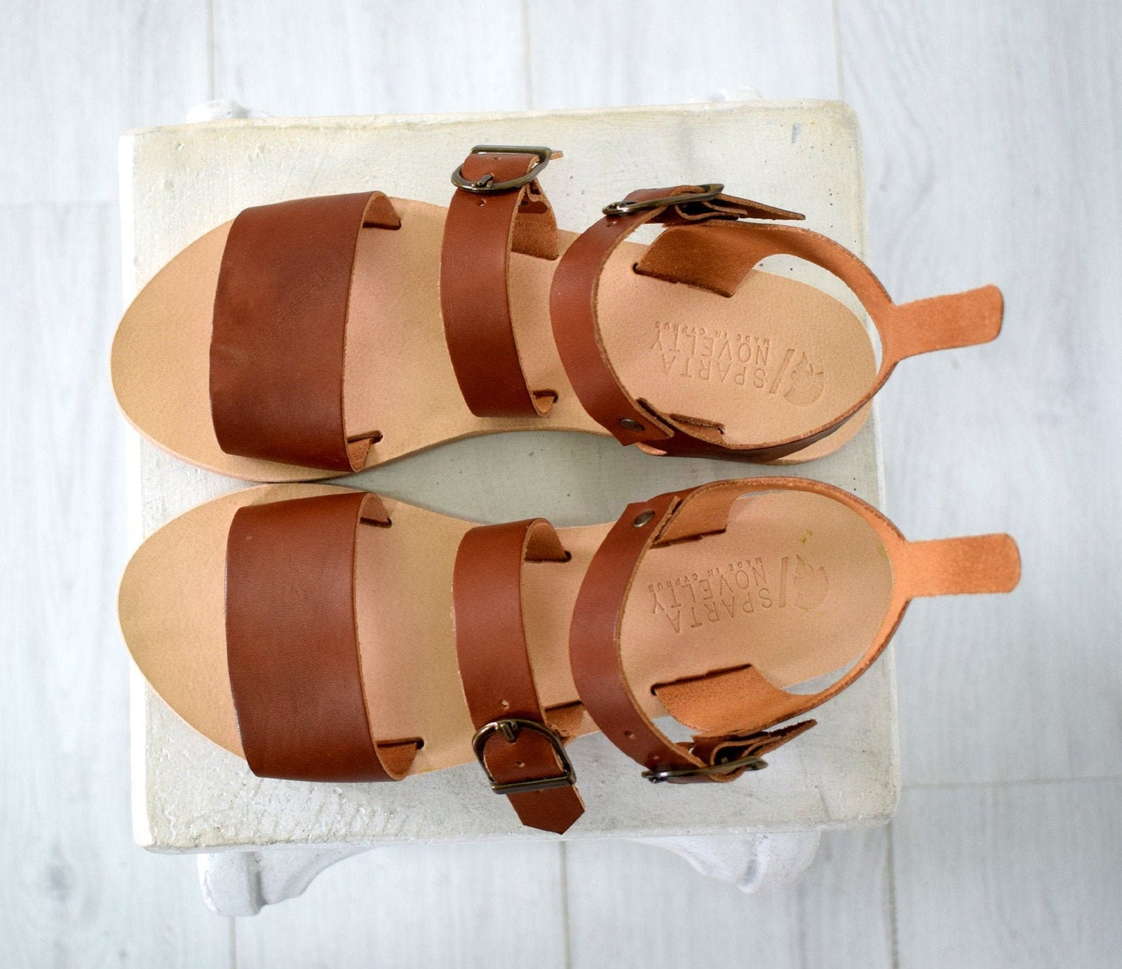 Leather Sandals Women, Handmade in brown color, Sparta sandals.