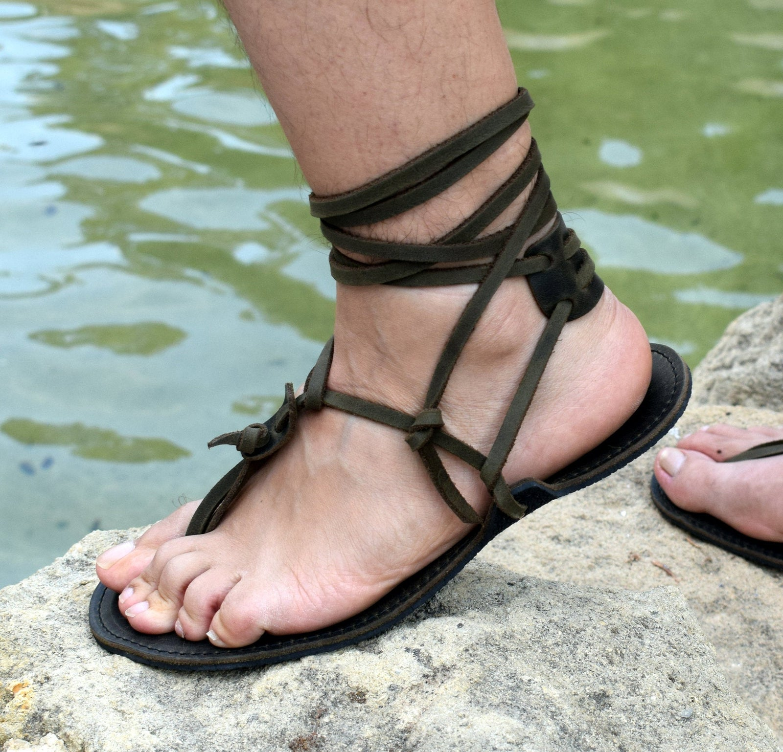 Barefoot men sandals, Leather Sandals, barefoot shoes, Beach Barefoot Sandals at khaki Leather.