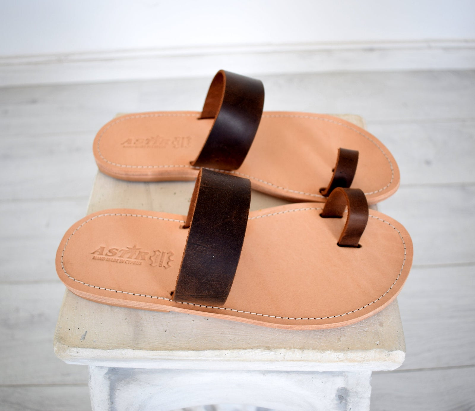 Flip flop men Greek Leather sandals, slipers Men, Thongs brown Color, leather sole - insole