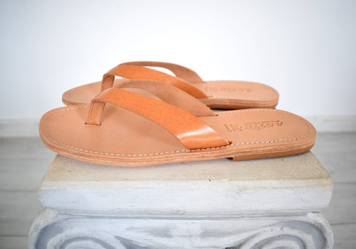 Flip Flop - Thong men Greek Leather sandals, slipers Men, Tan Color, leather sole - insole