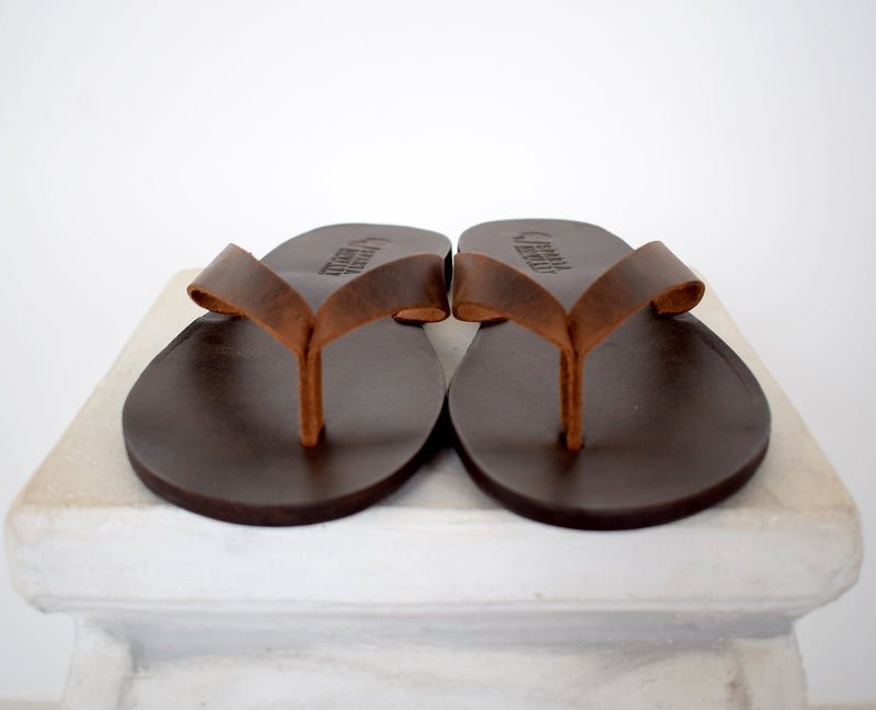 Flip flop Greek Leather sandals - slipers Men, Thongs brown Color, leather sole - insole
