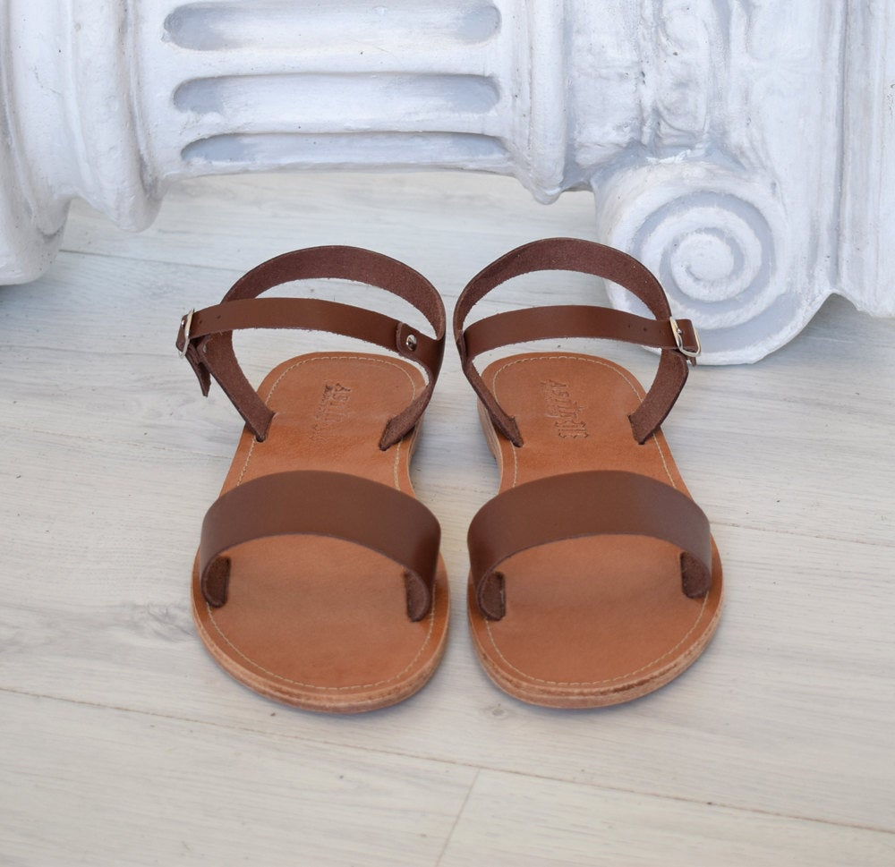 Greek handmade, Brown sandals, High Quality Genuine Leather, handcrafted leather, Roman sandals, Spartan leather sandals, ANTIPAROS