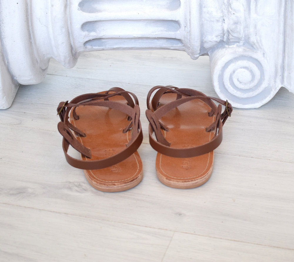 Ancient Greek Spartan Genuine leather sandals, leather handmade sandals, Bohemian leather sandals, Brown sandals, TILOS