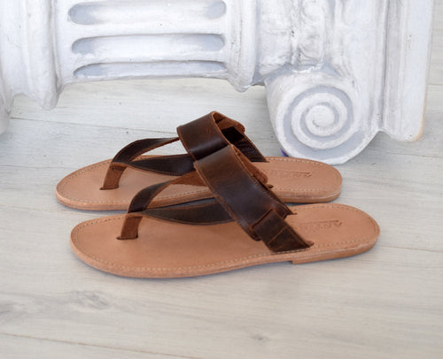 Handmade Genuine Leather brown sandals, Flip Flop Sandals, Jesus Sandals, , Ancient Greek leather sandals, Astir leather sandals, DELOS