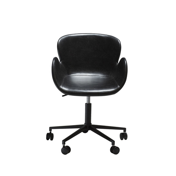 Gaia Office Chair in Vintage Black Leather | Dan-Form | Gudang Malaysia