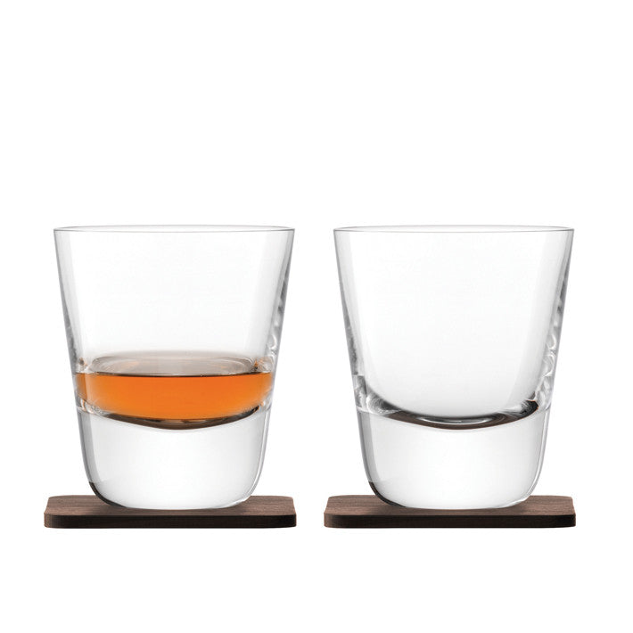 LSA International Whisky Arran Tumbler & Walnut Coaster Set, Tableware