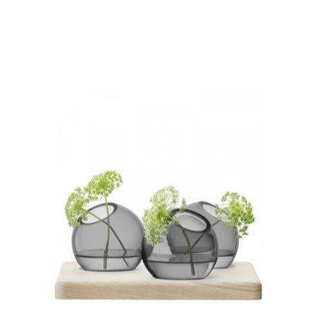Axis vase trio & ash base 8cm grey