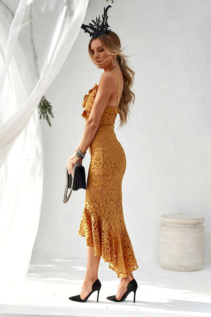LEANNE Dress - Mustard - Drop Dead Dollbaby