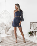 ELYSIAN TOGA Dress (Steel Blue)