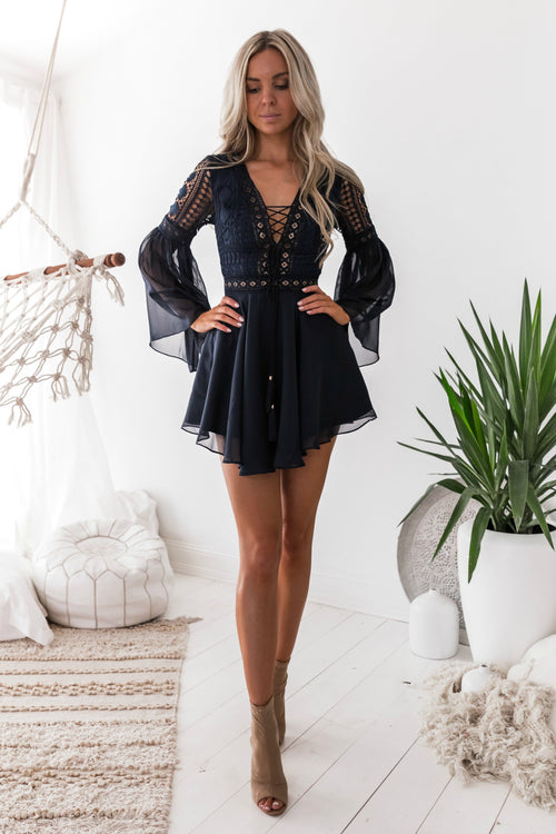 ALYSE Dress - Navy - Drop Dead Dollbaby