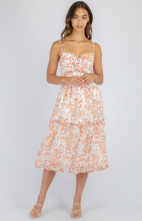 HARPER Dress - Orange Floral - Drop Dead Dollbaby