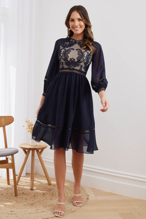 AVRIL Midi Dress - Navy - Drop Dead Dollbaby