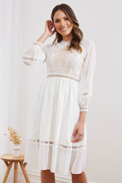 AVRIL Midi Dress - White - Drop Dead Dollbaby