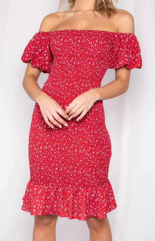SERENA Midi Dress - Red - Drop Dead Dollbaby