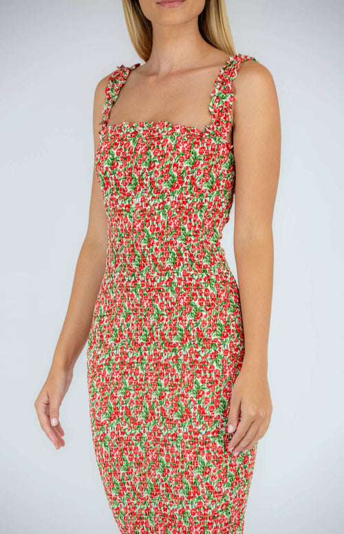 CLEMENTINE Midi Dress - Red - Drop Dead Dollbaby