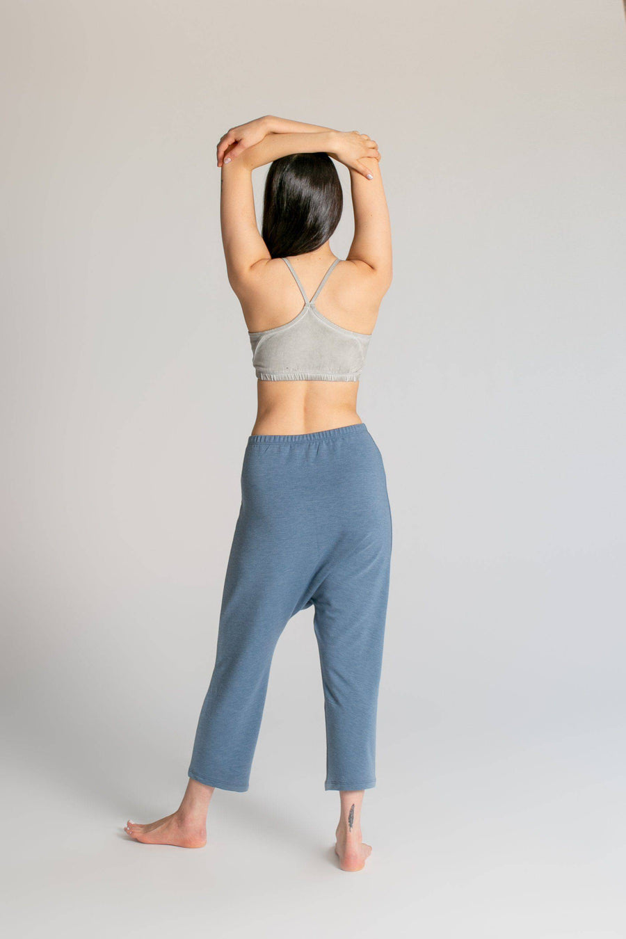 Cotton Viscose French Terry Cropped Pants womens clothing rippleyogawear denim-blue-french-terry S