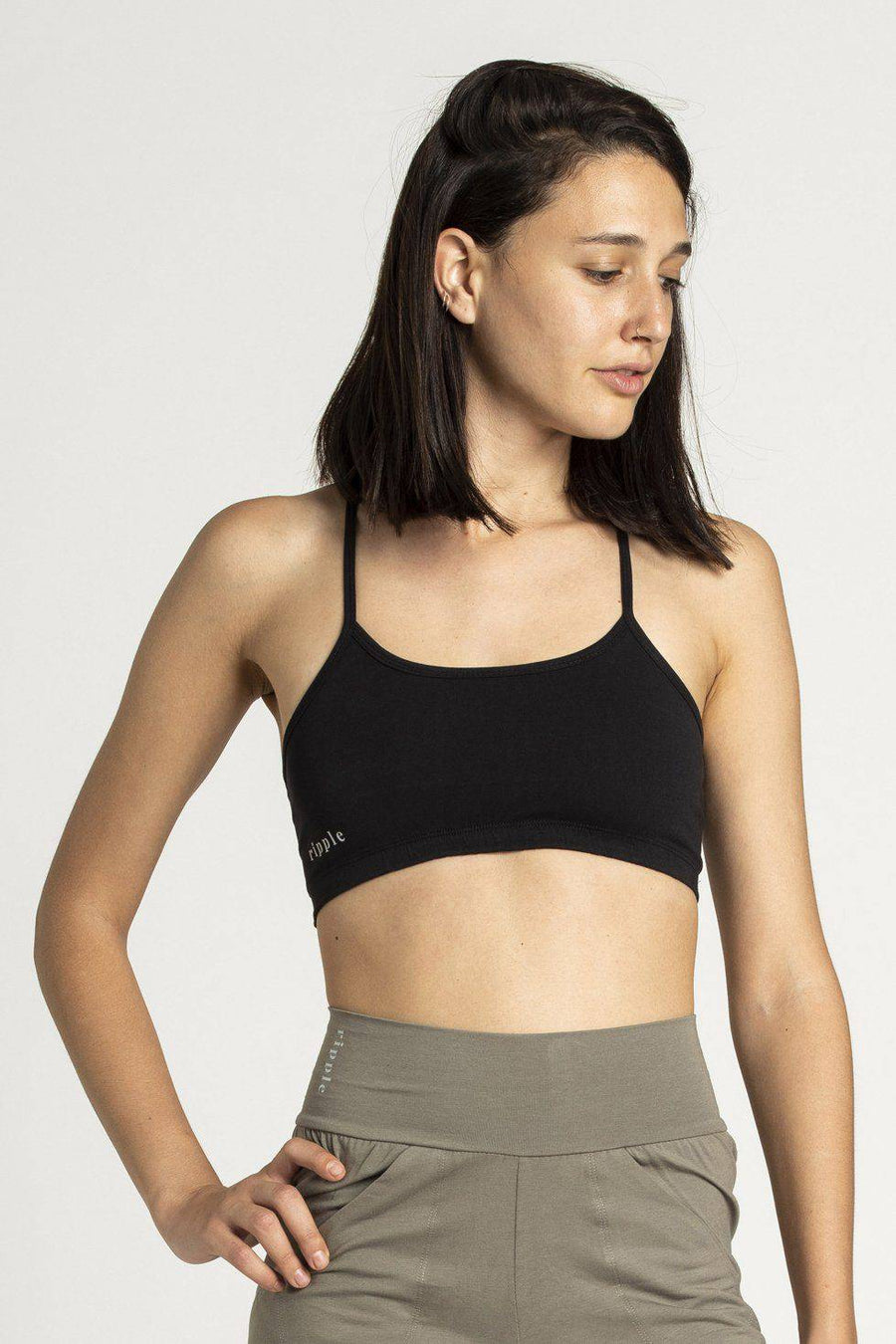 Criss Cross Bra womens clothing rippleyogawear black S