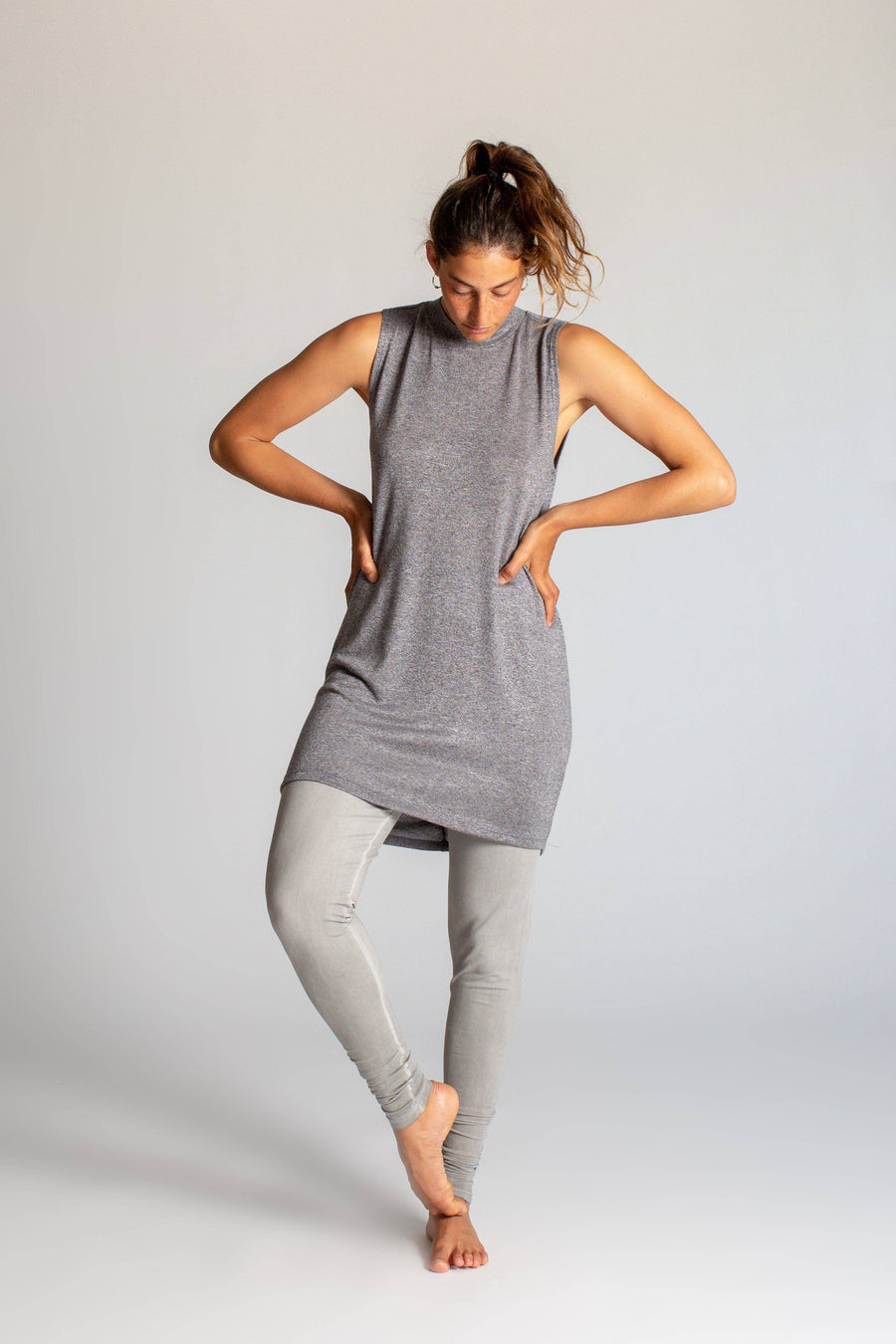 Draped Back Tunic womens clothing rippleyogawear S-M dark grey melange