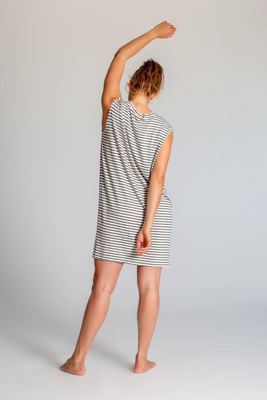 Limited Edition Striped Cup Sleeve Dress womens clothing rippleyogawear