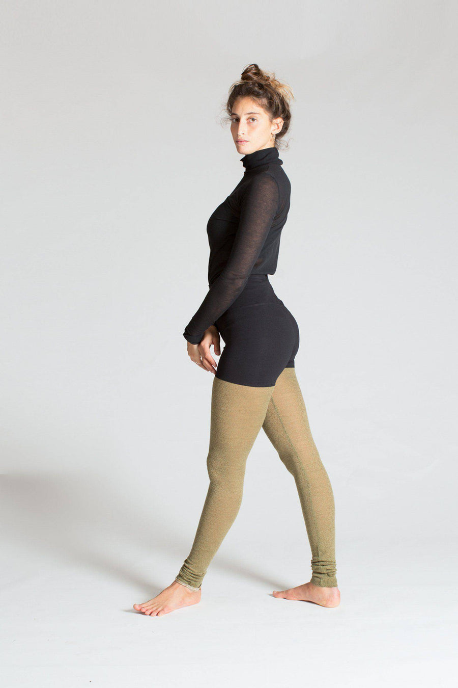 Limited Edition Zen Warrior Tights womens clothing rippleyogawear Black and Textured Olive S