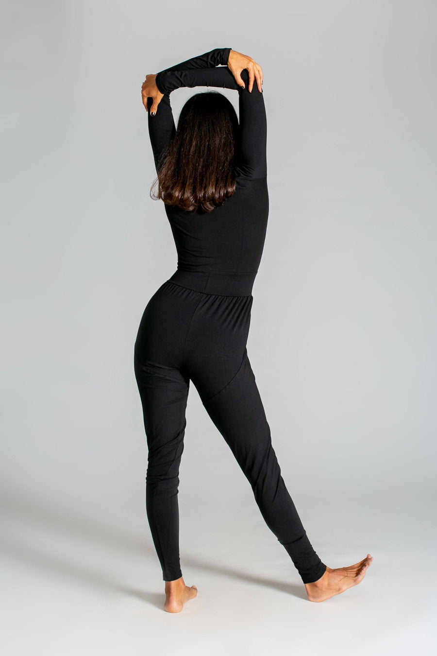 Long Sleeve Yoga Jumpsuit womens clothing rippleyogawear black S