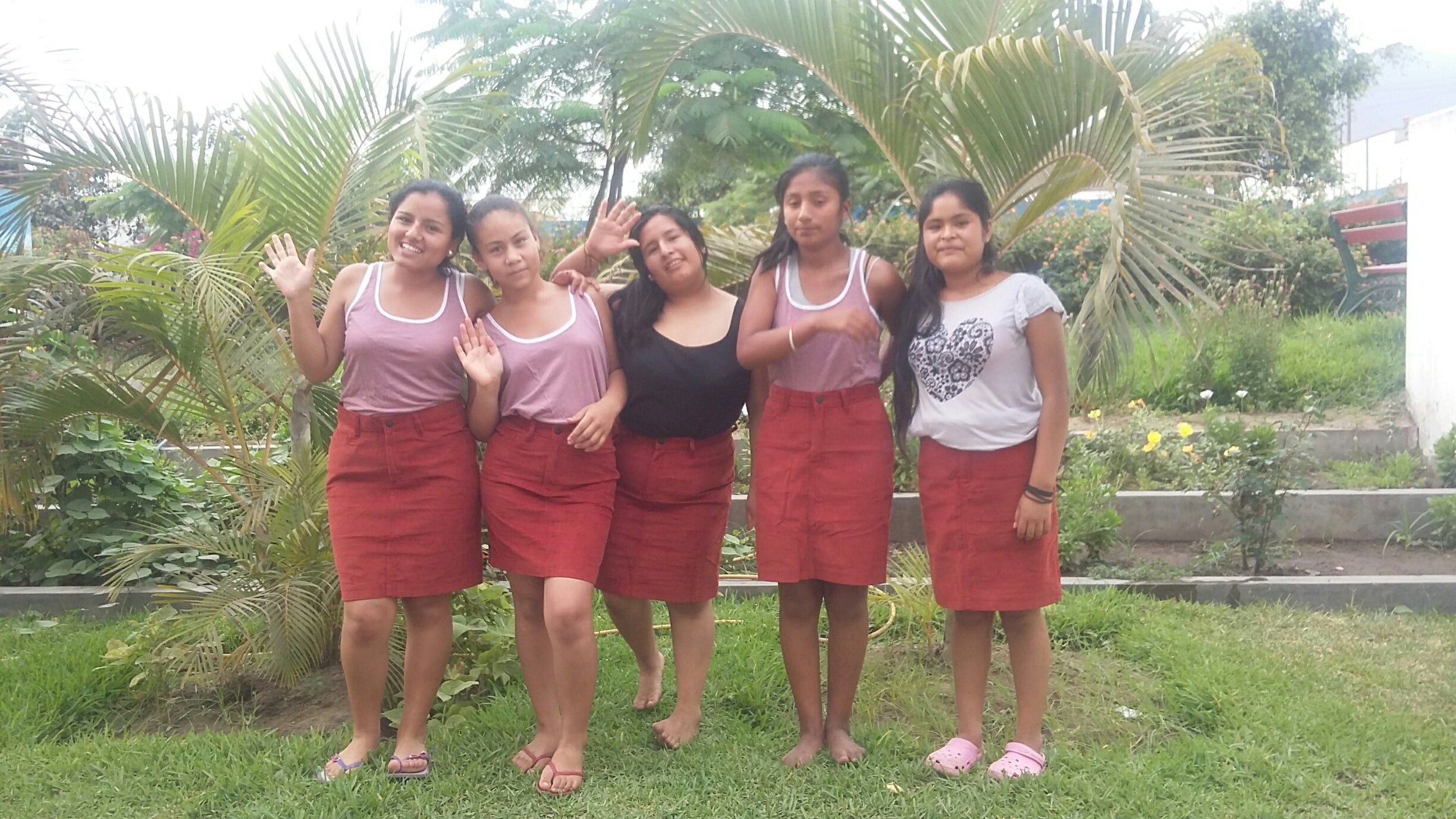 Girls from the Peru Project wearing their new Finisterre skirts