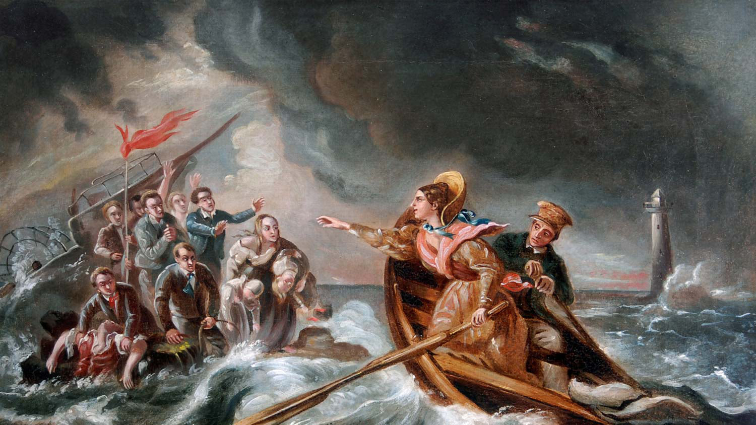A-painting-of-Grace-darlings-heroic-rescue-Image-Credit-Charles-Achille-DHardvillier-Grace-Darling-Museum