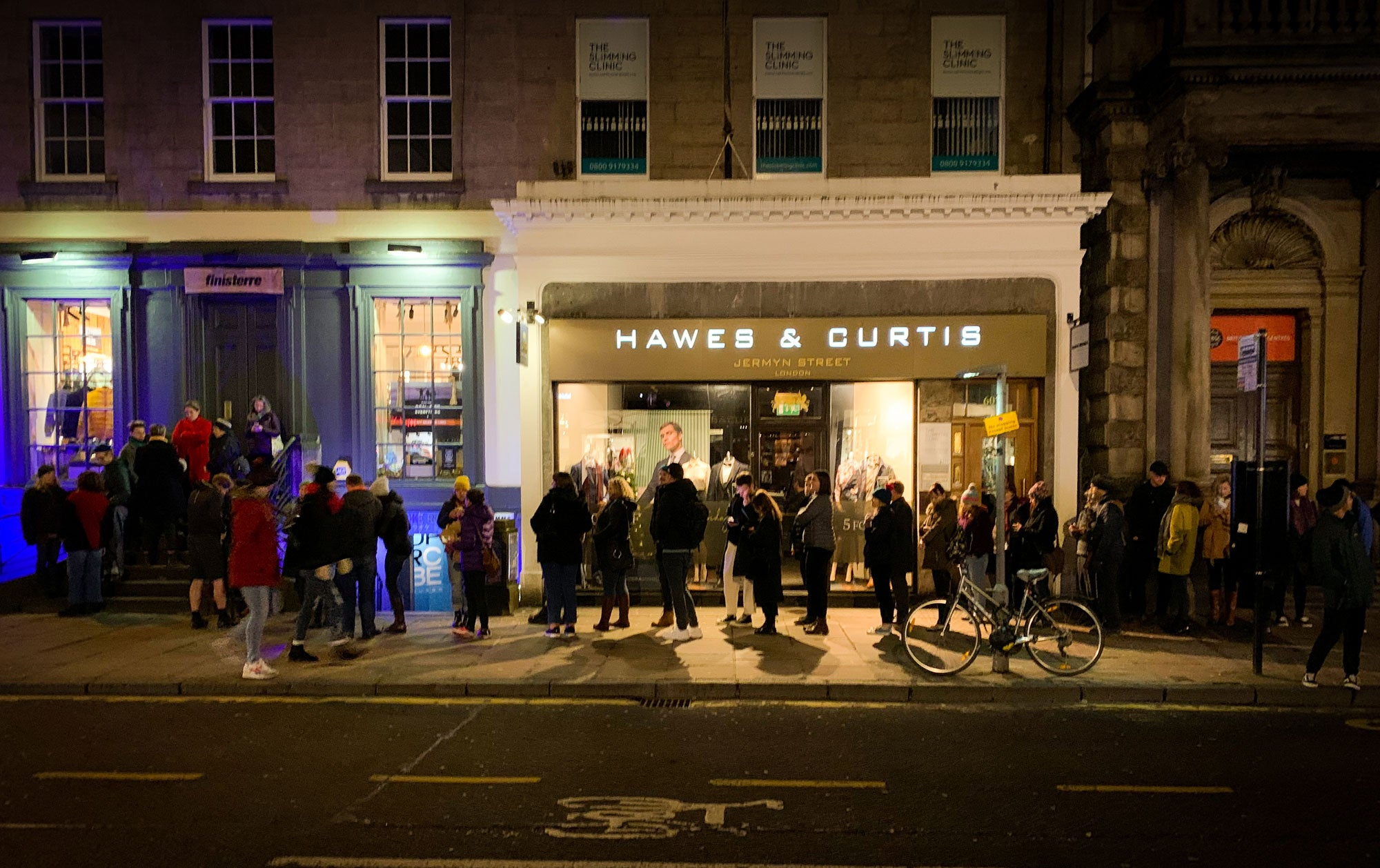 The queue outside Finisterre's Edinburgh store for the screening of Against the Tides