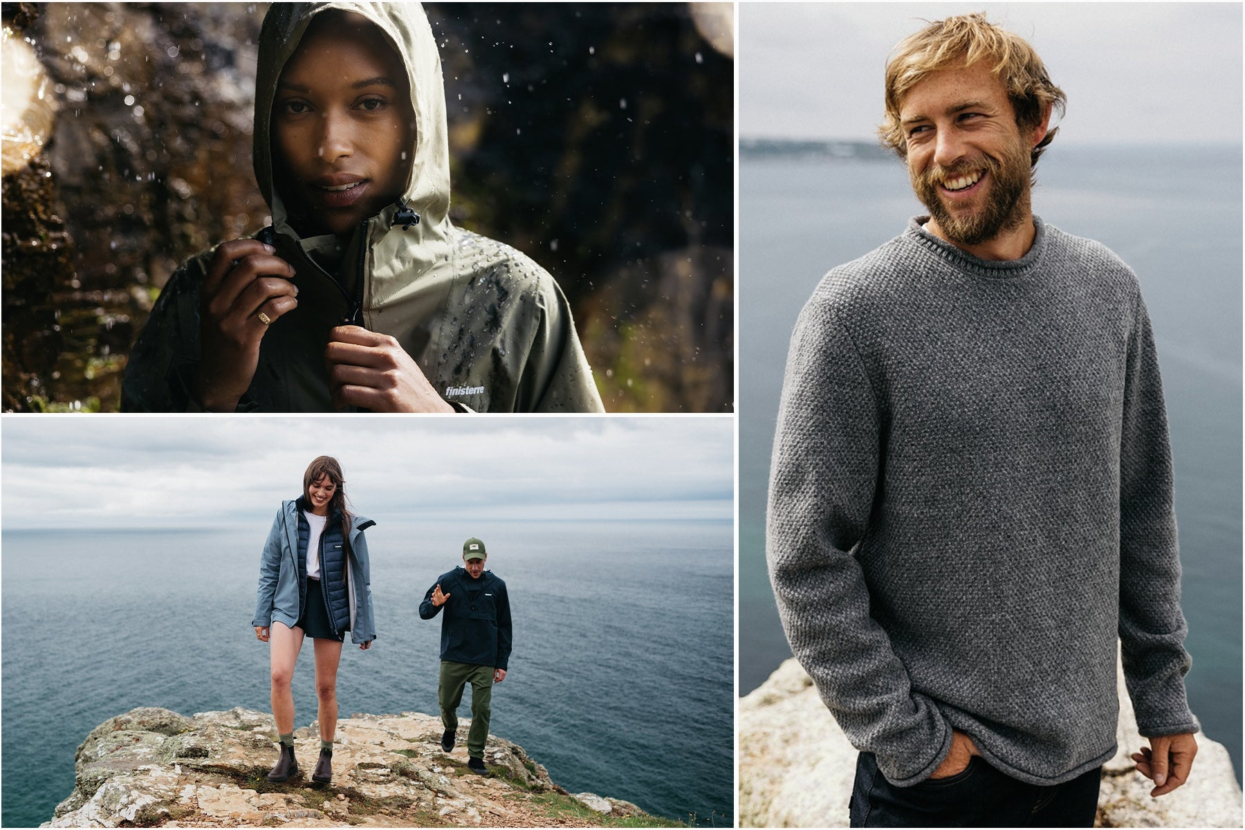 Collection of images of men and women wearing Finisterre clothing by the sea AWTrans21