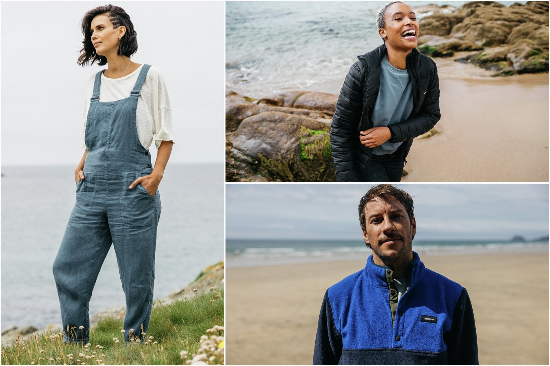 Split image of man wearing Finisterre fleece and women in dungarees and insulated jacket by Finsiterre