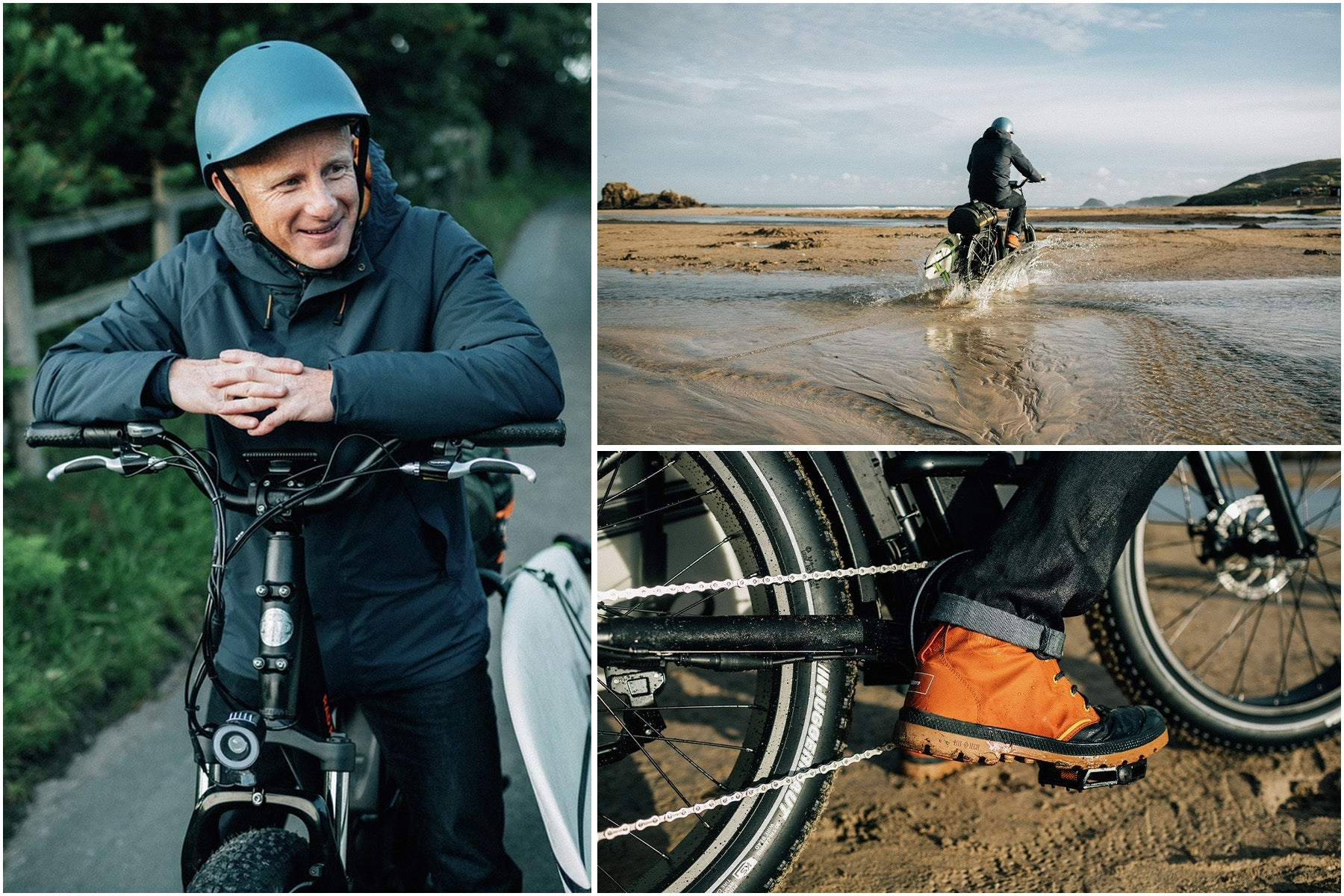 Tom Kay sets off on his electric bike to find uncrowded waves