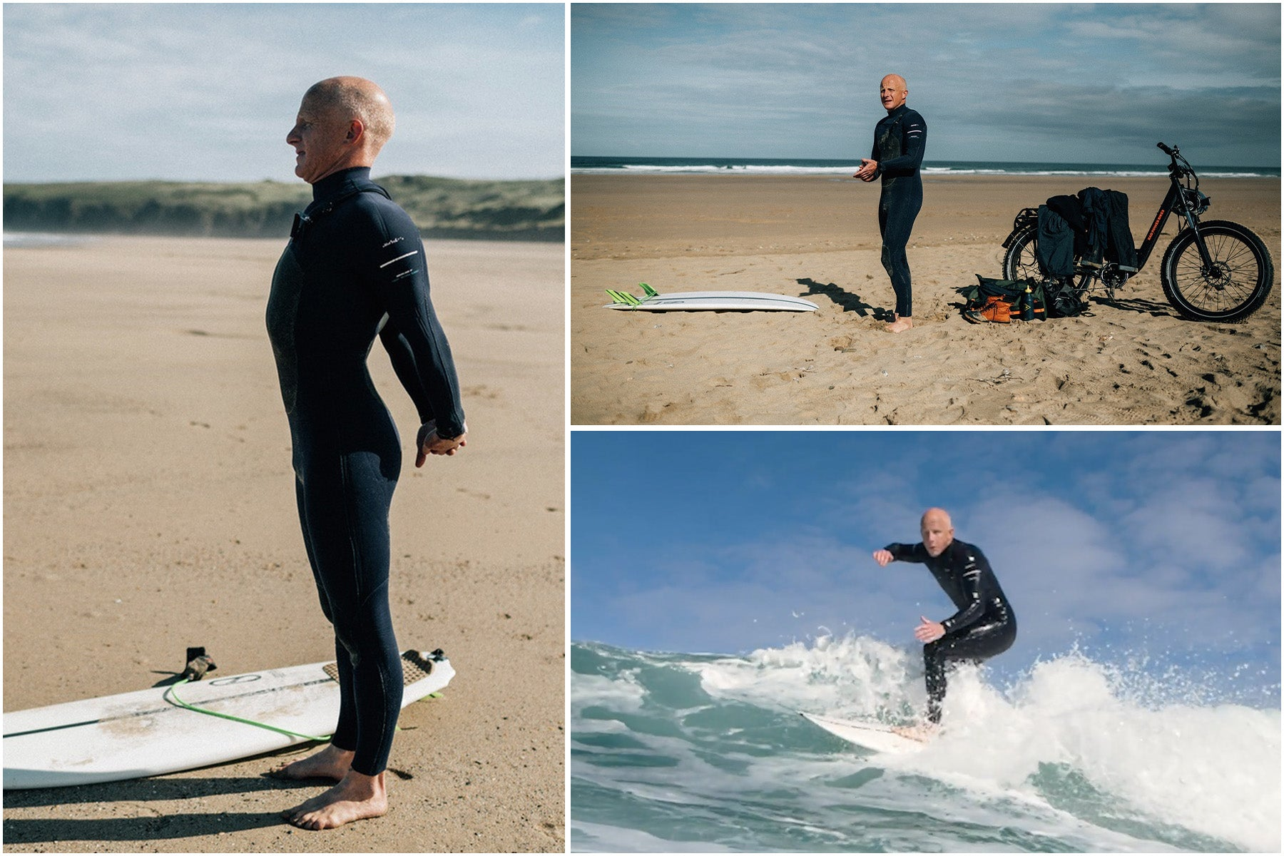 Tom Kay surfing after a solo morning cycle to the beach