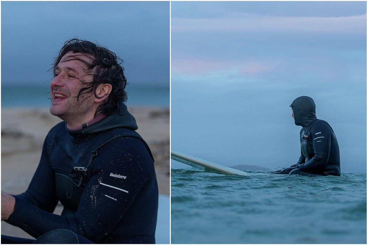 Colin Macleod wearing the Finisterre Nieuwland 5 hooded wetsuit in the outer hebrides
