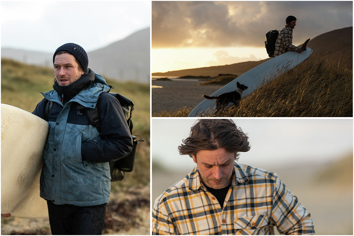 Colin Macleod wearing finisterre clothing in the wild Hebridean weather.