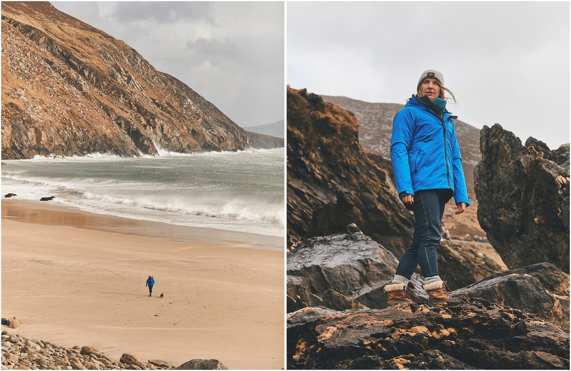 Easkey exploring her Irish home in the rainbird waterproof jacket