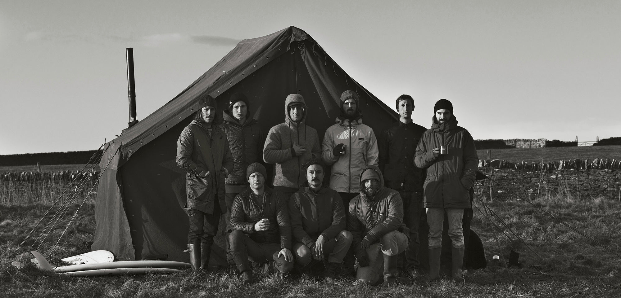 Edges of Sanity Header - The team pictured outside their living quarters for the trip to Scotland to film - Image credit Al McKinnon
