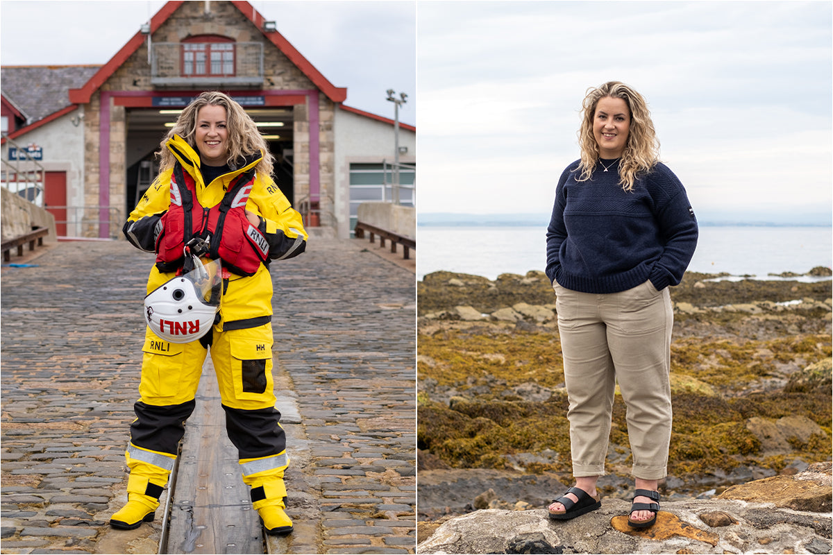 Emily Hague outside RNLI Anstruther and wearing the RNLI + Finisterre Gansey Jumper
