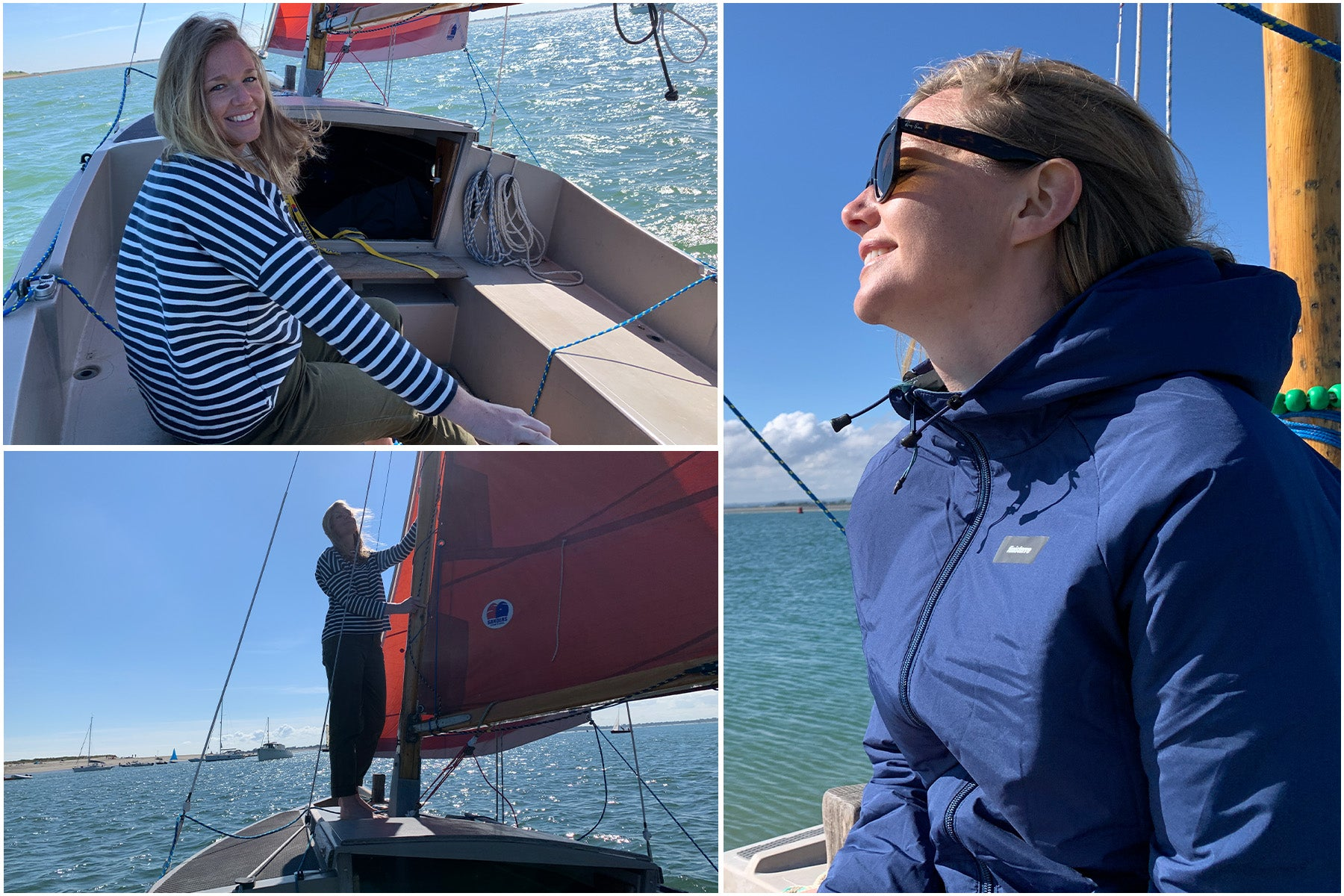 Emily Penn at the helm and in the rigging of her family's Cornish Shrimper
