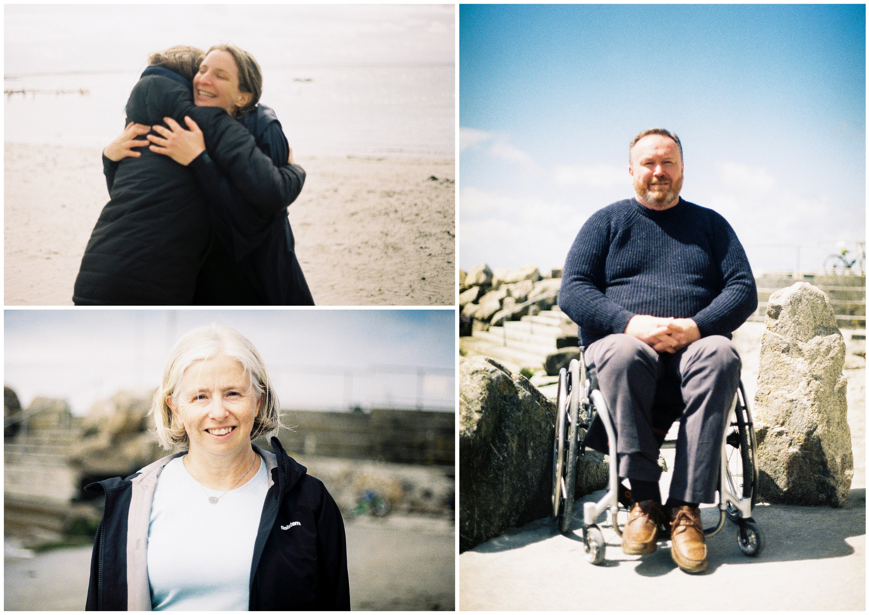 Top left image showing two women hugging, Bottom left with woman smiling at camera on the beach, Right image shows man sat in wheelchair in front of beach wall