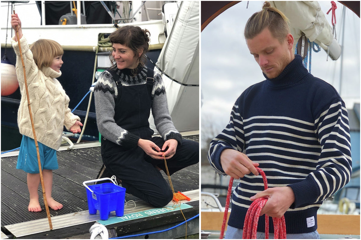 Family live-aboards the Thompsons wearing Finisterre knitwear