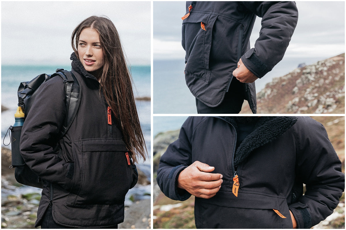 Woman wearing Finisterre x ArkAir smock with features pictured