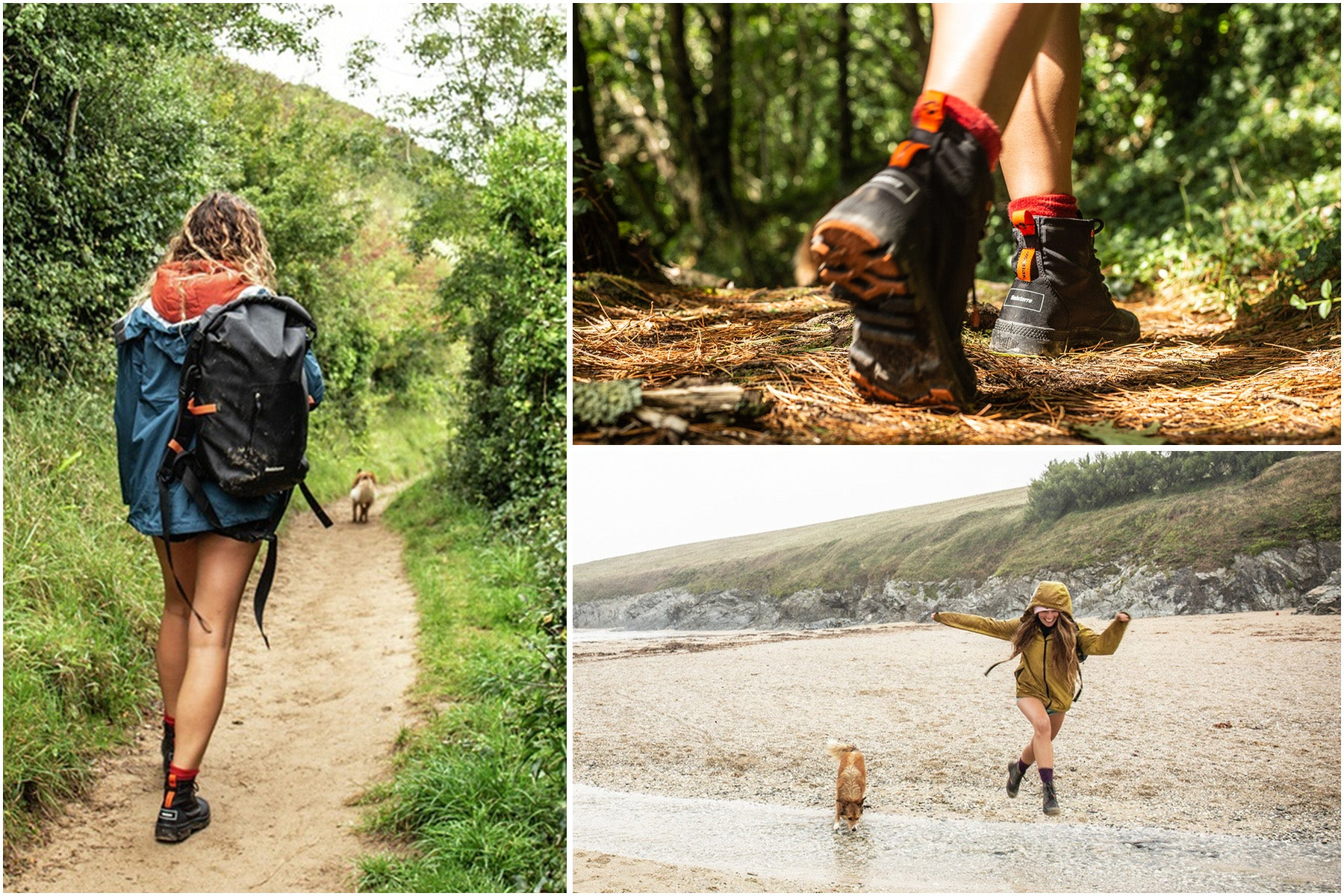 Split image of women wearing Palladium + Finisterre boots walking the south west coast path
